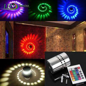 LED sieninis-lubinis šviestuvas 3D 3W spalvota šviesa