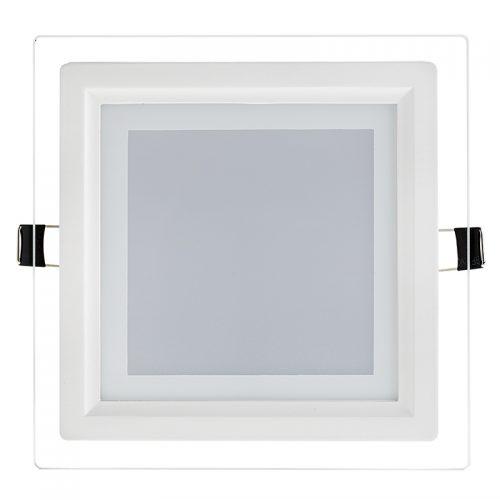 18W LED panelė kvadratinė stikliniu rėmeliu šilta balta šviesa 1