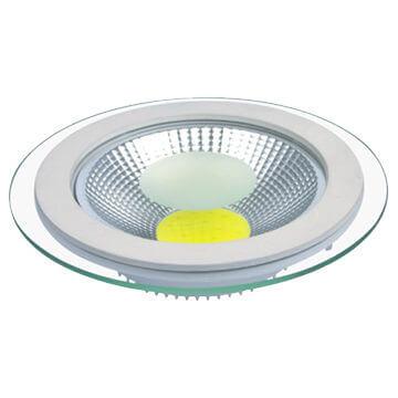 12W LED panelė su stikliniu rėmeliu apvali šilta balta šviesa 1