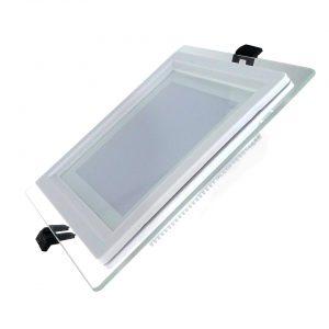 18W LED panelė kvadratinė stikliniu rėmeliu šilta balta šviesa