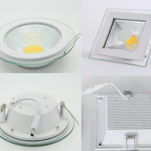 6W LED panelė su stikliniu rėmeliu šalta balta šviesa