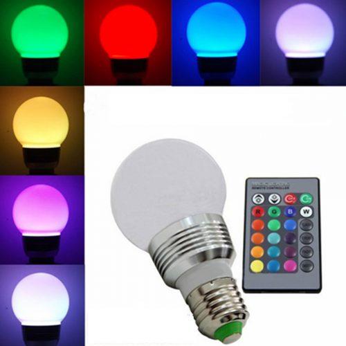 RGB LED lemputė keičianti spalvas su pulteliu 1