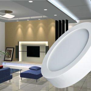 6W virštinkinė LED panelė apvali šilta balta šviesa