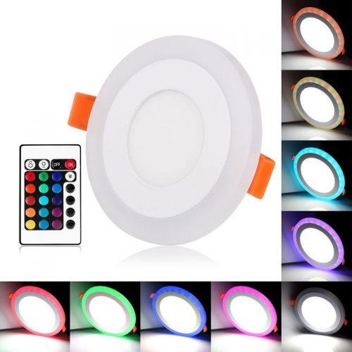 9w LED panelė keičianti spalvas su pulteliu (RGB) apvali 1