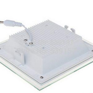 12W LED panelė kvadratinė stikliniu rėmeliu šilta balta šviesa
