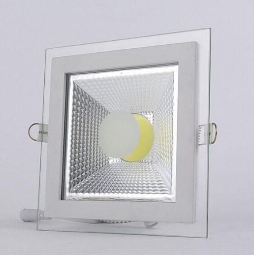 12W LED panelė kvadratinė stikliniu rėmeliu šilta balta šviesa 1