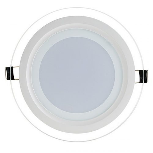 6W LED panelė apvali stikliniu rėmeliu šilta balta šviesa 1